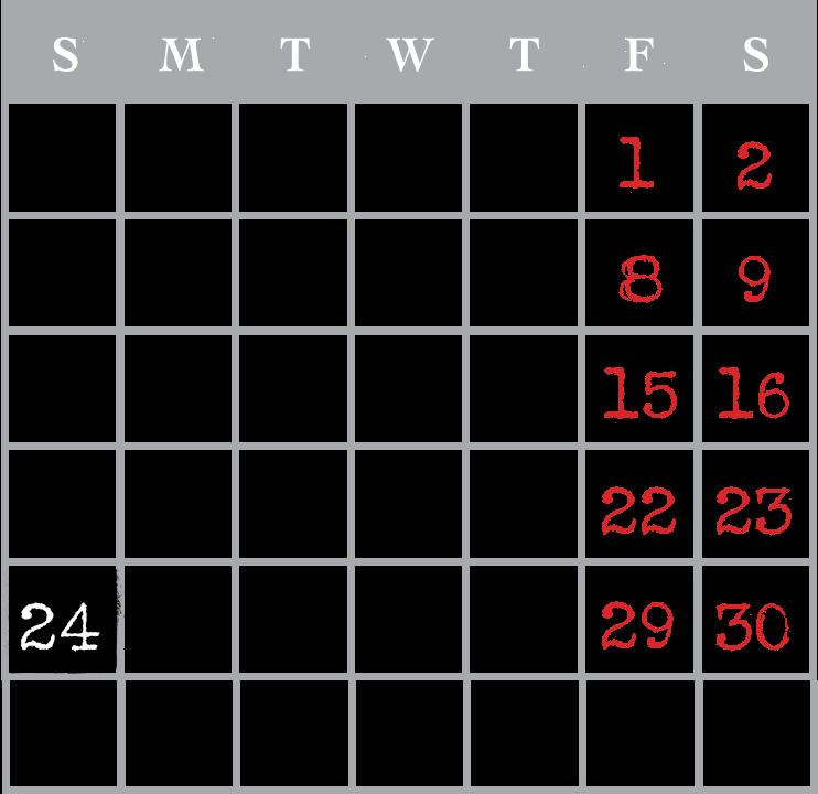 USS Nightmare October Calendar